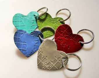Heart for the Nations Stamped Leather Keychain You choose