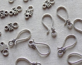 10 Silver tone Hook Clasp Sets