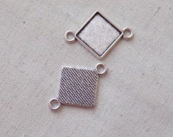 5 Rhombus Settings - Silver tone 32 x 23mm