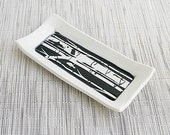 Butter Dish with Sgraffito Birch Tree Design