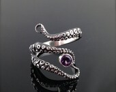 VDay SALE READY TO Ship! WIcked Tentacle Ring with Amethyst, Wedding Band, Engagement Ring, Occasion