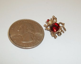 Tiny Spider Pin,Brooch,Vintage Red Rhinestone with Faux Pearl,Little Bug