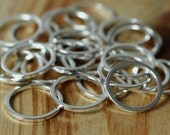 Silver plated circular link connector O ring 12mm outer diameter 1mm (18g) thick, 24 pcs (item ID YWFA00005SP)