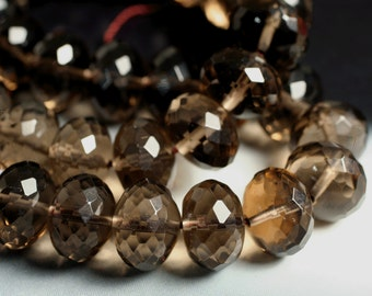 Smoky quartz faceted rondelle 14mm, 4 pcs (item ID L05SQFRN9)