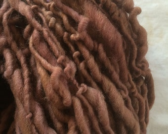 Why Don't You Do Right?  142 yards US wool single ply squishy springy arm knitting pudgy handspun rosy tan