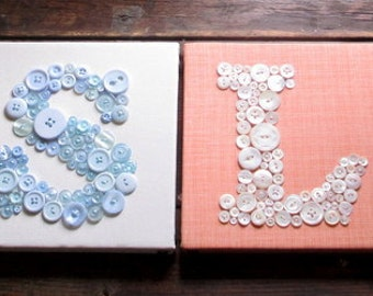 Personalized Kids Wall Art, Custom Button Letter Art, Nursery Decor, Your Child's Name in Buttons -- You Choose Size and Colors