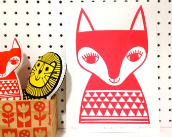 New Limited Edition Scandinavian Happy Fox screen print by Jane Foster