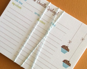 Cupcakes- Personalized recipe cards, set of 20
