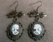 Victorian Skeleton Lady Cameo Earrings Gothic Lolita Jewelry Brown and White in Brass Settings Marie Antoinette Zombie Skull