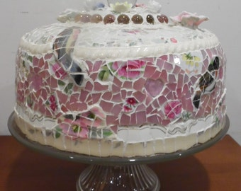 covered pedestal bird cake plate salver broken china picassiette mosaic