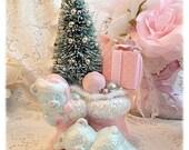 Shabby Sweet Vintage Santa Boot Teddy Bear Planter Bottle Brush Tree ECS sct schteam SVFTeam