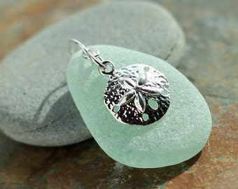 Sand dollar Jewelry - Sea glass jewelry- Gift for her - sea glass pendant - Aqua sea glass - beach glass jewelry - sea life pendant