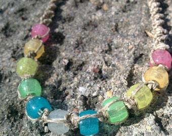 Natural Hemp with Rainbow Glow-in-the-Dark Beads