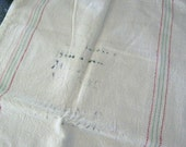 Vintage Grain Sack Heavy Cotton Muslin Bag Green Red Side Stripes In Tact Flour or Feed Sack