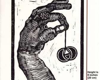 hand  linocut, 8 x 10, Euclid #2, off-white rice paper