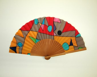 Hand fan Handpainted Silk-Abanico-Wedding gift-Giveaways-Bridesmaids-Spanish hand fan