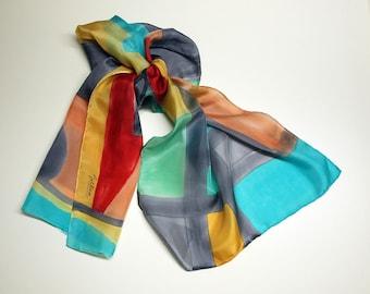 """Hand Painted Silk Scarf.Silk Scarf.Hand Painted Silk Shawl.Wedding Gift. Silk Art. Sonia Delaunay Style . 55""""x18"""" Ooak scarves"""