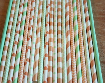 Peach Mint Straws, Paper Straws, Peach Assorted, Peach Stripes, Mint Dots, Drinking Straws, Girl Birthday, Baby Shower, Wedding Reception