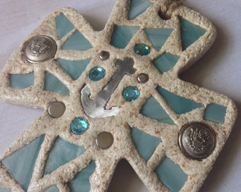 Bread Of Life Turquoise Nautical Mosaic Cross