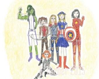Girl Avenger inspired note cards