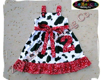 Custom Boutique Clothing Girl Birthday Barn Farm Cow Bandana Jumper Ruffle Dress 3 6 9 12 18 24 month size 2T 2 3T  4T 4 5T 5 6 7 8 t