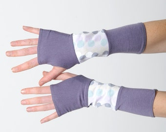 Lilac fingerless gloves, Purple white jersey armwarmers, wrist warmers, Womens accessories, Gift for her, Jersey fingerless gloves, MALAM