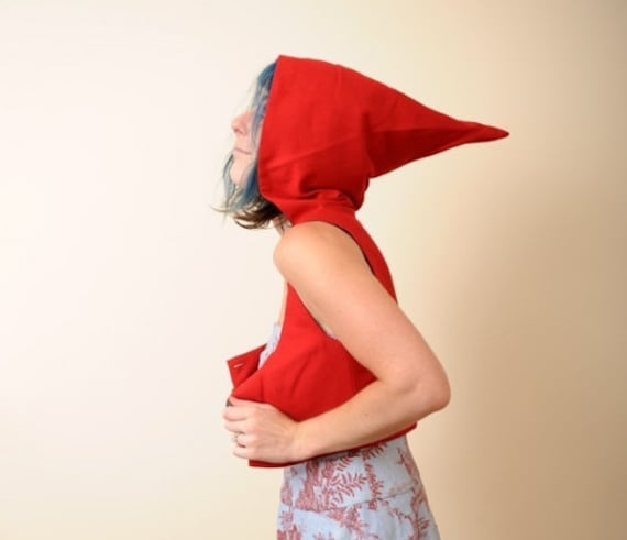 Red Cropped Jacket with Hood - Red Bolero - Red Riding Hood - Cropped Bustier Top with Goblin Hood