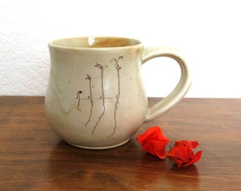 Sprouts Mug - 12 oz - Apple Tree - Mug - Botanical Mug - Ceramic Mug - Hand Thrown Stoneware Mug - Ready to Ship