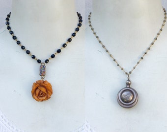 1or2 pc Lot! antique Victorian necklaces. Fancy vintage chokers. carved Bakalite rose . Sterling Vial. ooak handmade old jewelry p4