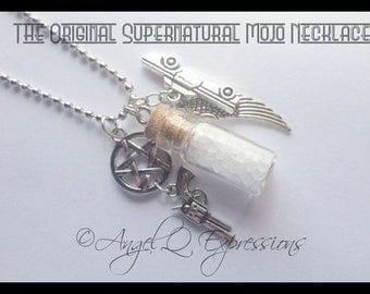 The ORIGINAL Supernatural Mojo Necklace SPN Jewelry with the Salt Vial, Demon Colt, Protection Pentagram, Angel Wing, and Metallicar