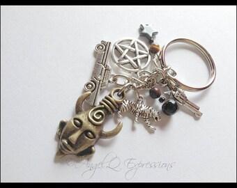 Supernatural Demon Hunter Dean Winchester Keychain with Samulet, Impala, Pentagram, and Tiger in Hematite, Jasper, and Tiger's Eye
