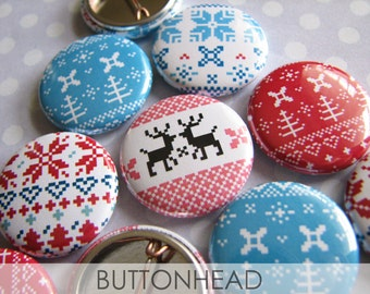 Ugly Christmas Sweater Party Favors Buttons - Christmas Party Favors - 1 Inch Pins (Set of 10) - Norwegian Design