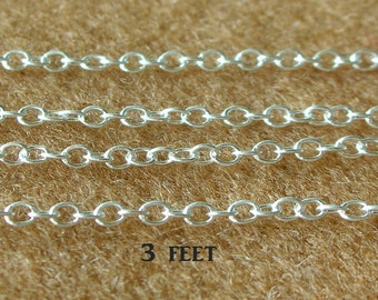 925 Sterling Silver Chain - Oval Chain - 2 x 2.5mm. Chain - Delicate OVAL CABLE LINK Chain - 3 Feet