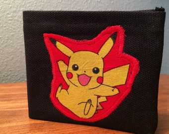 Pokemon Pikachu handmade black canvas lightweight sturdy wallet