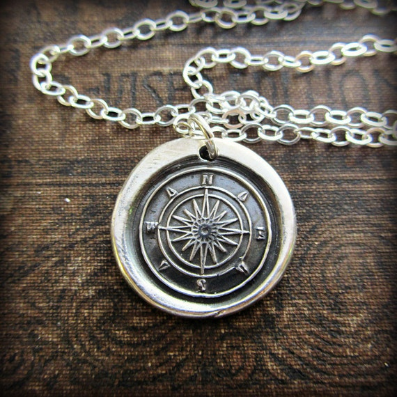 Compass Wax Seal Necklace - Compass Rose - Nautical Necklace -Graduation Necklace - Nautical Jewelry - Guidance & Direction E2135