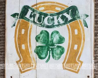Shamrock, Lucky, Horseshoe, Irish Pride. Vintage-looking upcycled wood sign, hand made, hand painted
