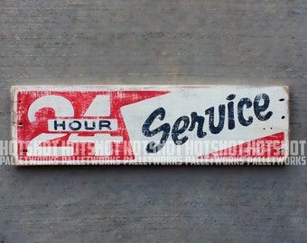 24 Hour Service, Hand Painted, Vintage-looking, Pallet Sign