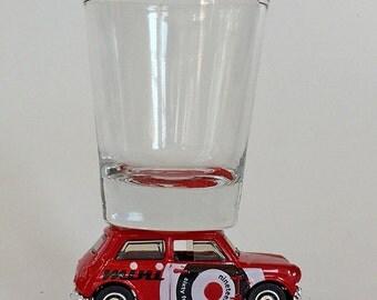 The ORIGINAL Hot Shot, Classic Hot Rods, Shot Glass, Austin Mini Cooper, Matchbox car