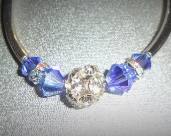 Sapphire Swarovski crystal bangle bracelet with silver tubes &  central pave bead