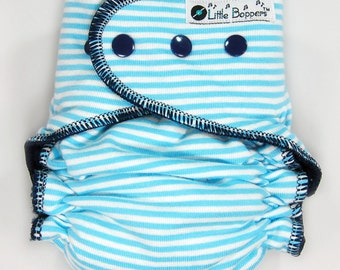 Cloth Diaper or Cover Made to Order - Light Blue and White Mini Stripes with Navy Trim - You Pick Size and Style - Custom Nappy or Wrap