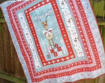 Joy, Love, Peace Reindeer Quilt Blanket
