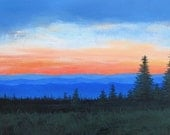Blue Ridge Mountain Sunset, Painting on Canvas, Blue Ridge, 18 X 30, sunset, Foust