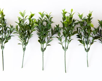 6 Boxwood Stems with up to 36 Foliage Pieces - Faux Succulent - artificial flowers, boxwood stems, diy bouquet, filler - ITEM 032