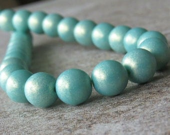 8mm Turquoise Sueded Gold Czech Glass Bead 8mm Round Druk : 25 pc Sueded Turquoise 8mm Druk