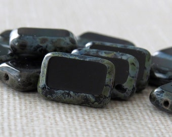 Czech Glass Bead Jet Black Picasso 8x12mm Rectangle : 12 pc Black Rectangle Bead