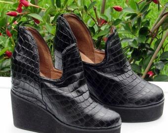 Sz 8.5B Jeffery Campbell Black Mega Platform Creepers Shoes Club Kid Grunge