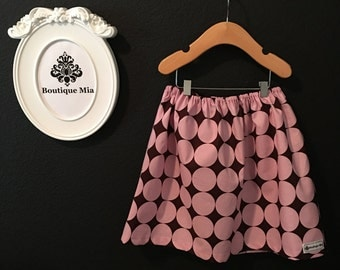 Will fit Size 6 yr to 9 yr - READY to MAIL - Children Skirt - Pink and Brown Polka Dots - by Boutique Mia