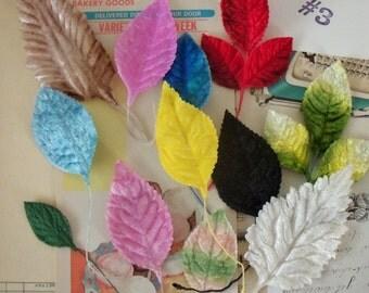 Velvet Leaves / Vintage Millinery / Variety / Ombres / Variegated / Pastels / Sizes / One Dozen Stems