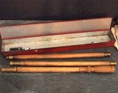 J.C. Higgins Shotgun Cleaning Outfit Red Metal Box Vintage Wood Rod with attachments