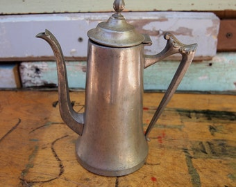 Free Shipping Vintage Pewter Pitcher Ewer 312 Solid Tea Pot Hinged Lid Ornate Handle